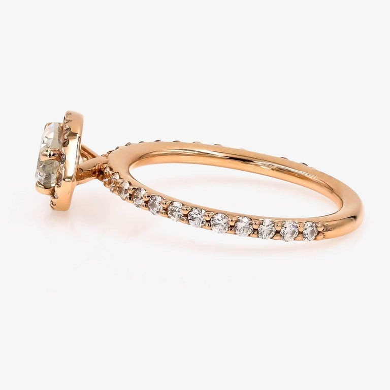 Marquise Cut GIA Certified 1.51cts. Marquise & Ideal Cut Round Diamond Ring in 18kt Rose Gold For Sale