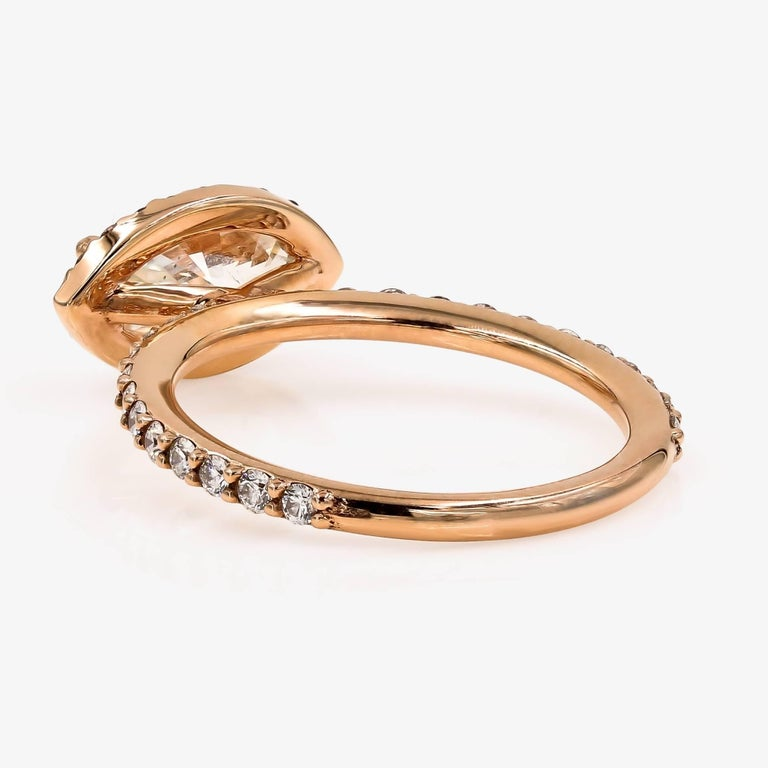 Women's GIA Certified 1.51cts. Marquise & Ideal Cut Round Diamond Ring in 18kt Rose Gold For Sale