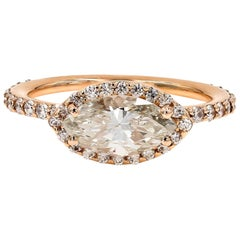 GIA Certified 1.51cts. Marquise & Ideal Cut Round Diamond Ring in 18kt Rose Gold