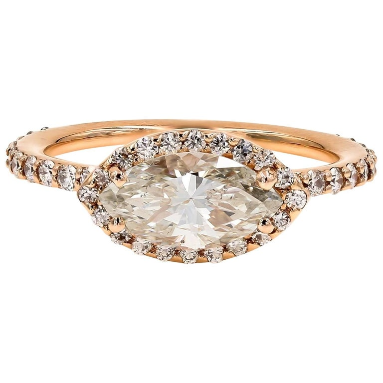 GIA Certified 1.51cts. Marquise & Ideal Cut Round Diamond Ring in 18kt Rose Gold For Sale