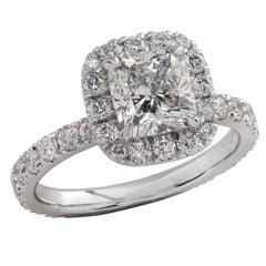 GIA Certified 1.52 Carat Cushion Cut Diamond Engagement Ring