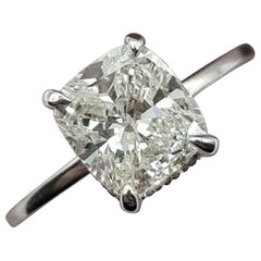 GIA Certified 1.52 Carat D Vs2 Cushion Cut Diamond Platinum Ring