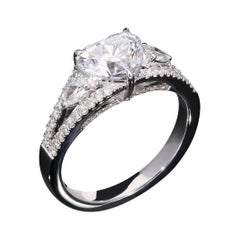 GIA Certified 1.52 Carat E VS2 Heart Shaped Diamond Solitare Ring in 18Kt Gold