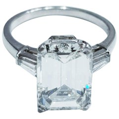 D VVS2 GIA Certified 2.55 Emerald Cut Solitaire Engagement Ring Platinum