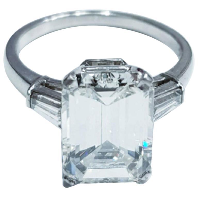 IGI Certified 3 Emerald Cut Solitaire Engagement Ring Platinum For Sale