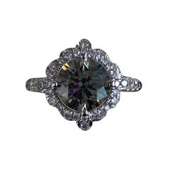 GIA Certified 1.52 Carat Fancy Dark Gray Round Diamond Ring 18 Karat White Gold