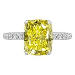GIA Certified 1.52 Carat Fancy Vivid Yellow Diamond Ring