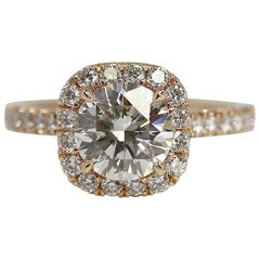 GIA Certified 1.52 Carat Round Brilliant Diamond Halo Ring