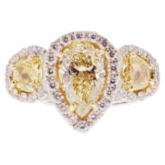 GIA Certified 1.53 Carat Natural Yellow Diamond Ring in Platinum