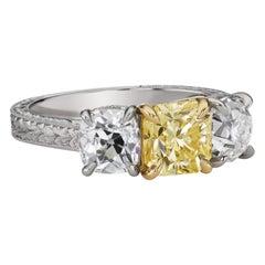 GIA Certified 1.53 Carat Yellow Diamond 3-Stone Ring