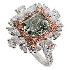 GIA Certified 1.53 Fancy Grayish Green Diamond Cocktail Ring with Pink Diamonds