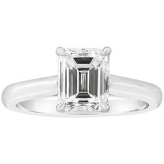 GIA Certified 1.54 Carat Emerald Cut Diamond Solitaire Engagement Ring