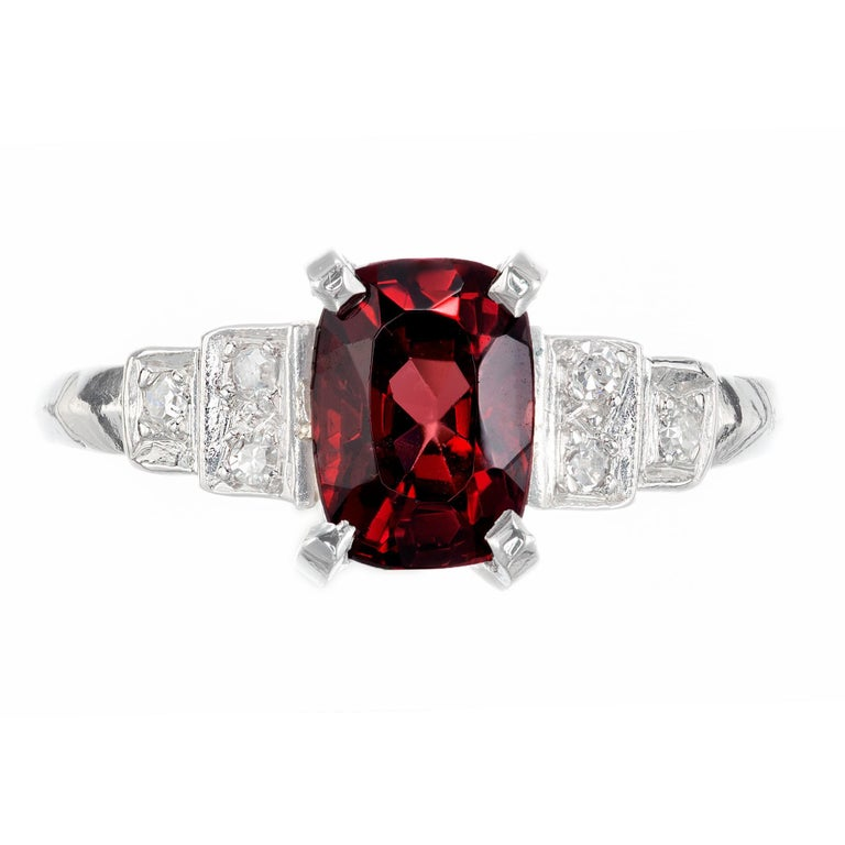 Original 1.54ct cushion cut natural Spinel no heat and no enhancements in an Art Deco 1930's Platinum setting with single cut side diamonds.  1.54ct natural orangey red natural Spinel cushion shape no heat. GIA certificate # 1152137500. 6 single cut