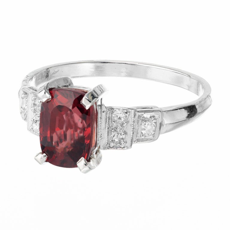 Cushion Cut GIA Certified 1.54 Carat Orange Red Cushion Spinel Platinum Gold Engagement Ring For Sale