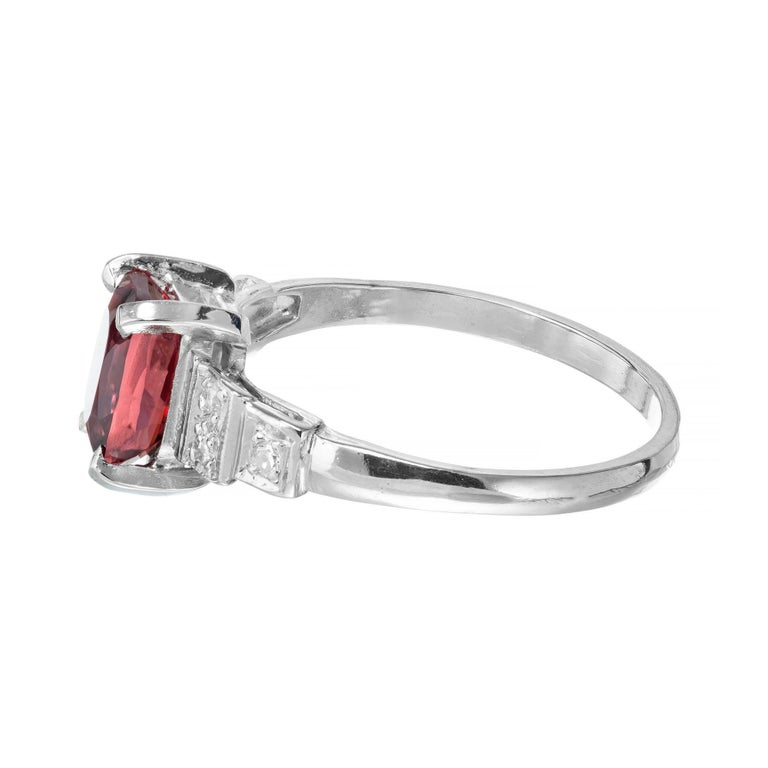 GIA Certified 1.54 Carat Orange Red Cushion Spinel Platinum Gold Engagement Ring In Good Condition For Sale In Stamford, CT