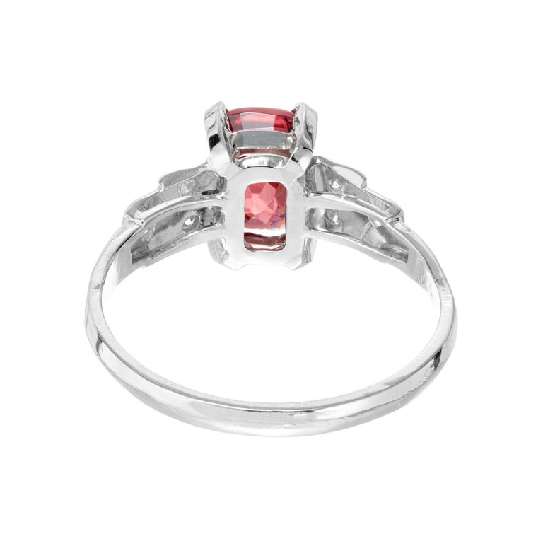 Women's GIA Certified 1.54 Carat Orange Red Cushion Spinel Platinum Gold Engagement Ring For Sale