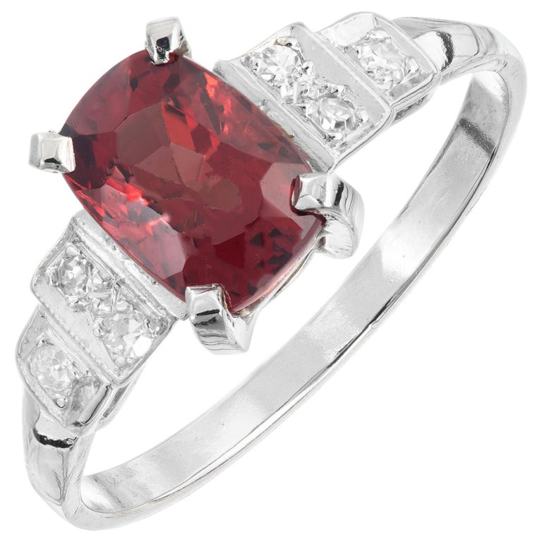 GIA Certified 1.54 Carat Orange Red Cushion Spinel Platinum Gold Engagement Ring For Sale