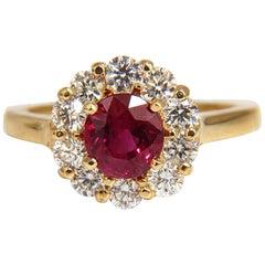 GIA Certified 1.54 Carat Oval Cut Red Ruby .88 Carat Diamonds Ring 18 Karat