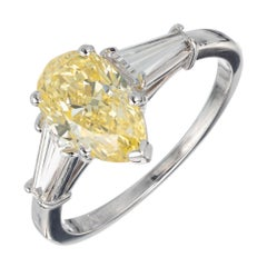 GIA Certified 1.54 Carat Pear Yellow Diamond Platinum Engagement Ring