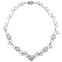 GIA Certified 15.42 Carat Diamond Heart and Ruby Necklace