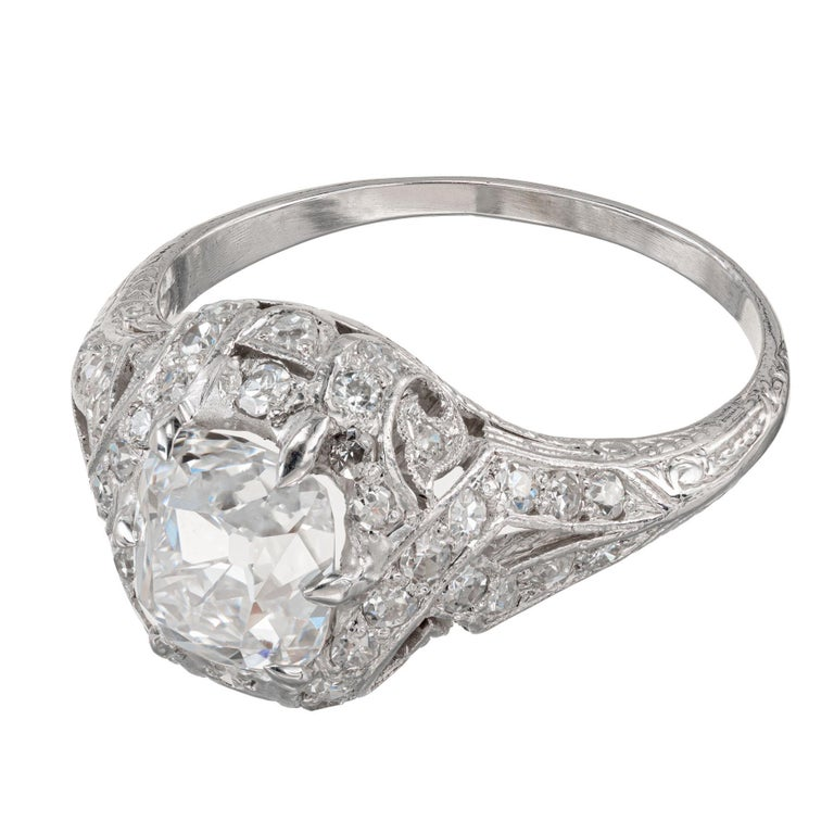 Old European Cut GIA Certified 1.55 Carat Diamond Platinum Engagement Ring For Sale