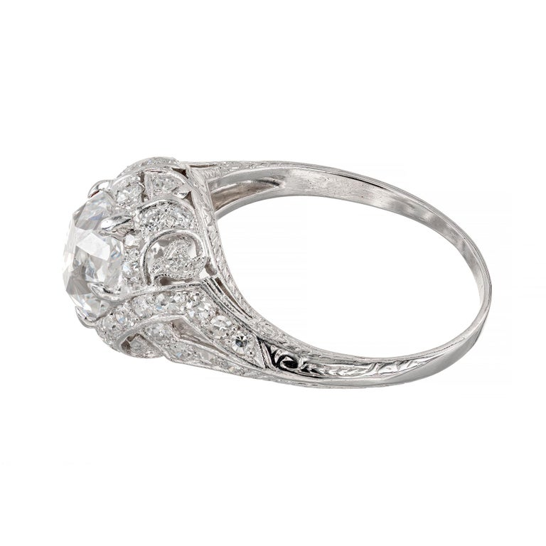 GIA Certified 1.55 Carat Diamond Platinum Engagement Ring In Excellent Condition For Sale In Stamford, CT