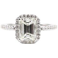 GIA Certified 1.55 Carat Emerald Cut J VS2 Diamond Halo Engagement Ring