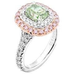 GIA Certified 1.55 Carat Fancy Intense Green Cushion Cut Diamond Ring