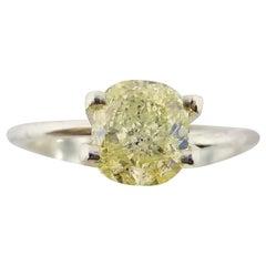 GIA Certified 1.55 Carat Natural Fancy Yellow Cushion Cut Diamond Ring
