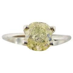GIA Certified 1.55 Carat Natural Fancy Yellow Cushion Cut Diamond Ring