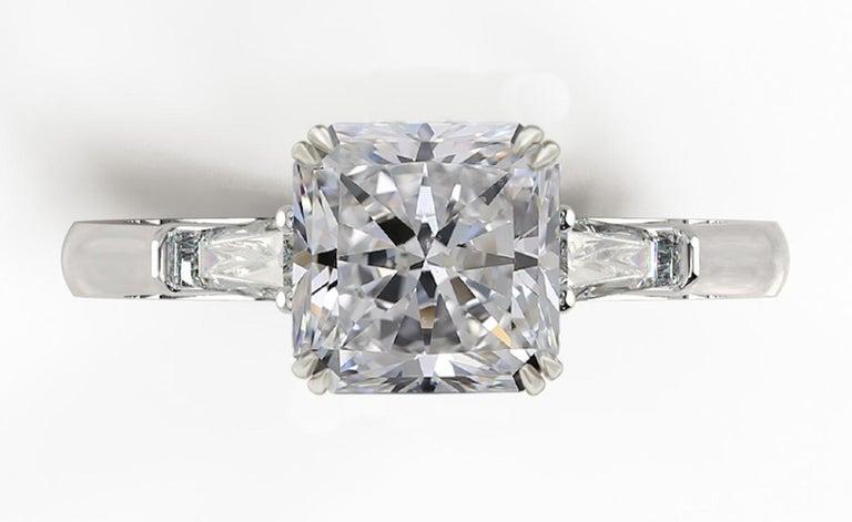 Modern GIA Certified 1.55 Carat Radiant Cut Diamond Ring D VS2 For Sale