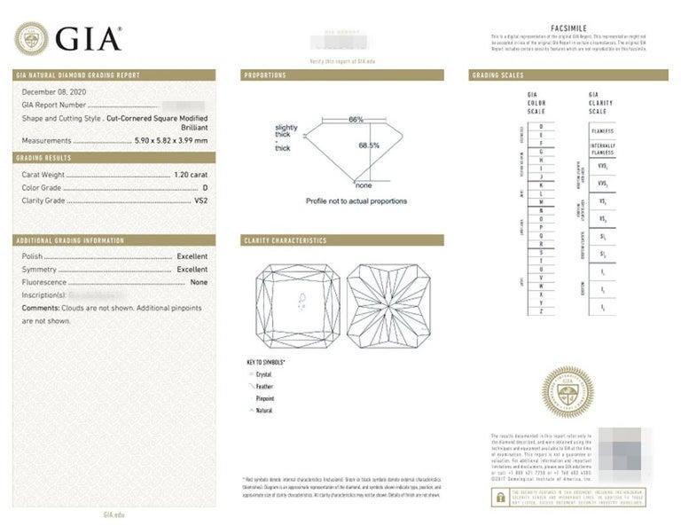 Women's or Men's GIA Certified 1.55 Carat Radiant Cut Diamond Ring D VS2 For Sale