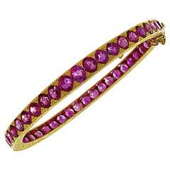 GIA Certified 15.50 Carat Burma Ruby Bangle Bracelet