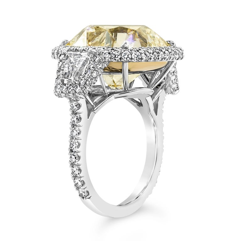 Cushion Cut GIA Certified 15.52 Carat Yellow Diamond Three-Stone Halo Ring For Sale