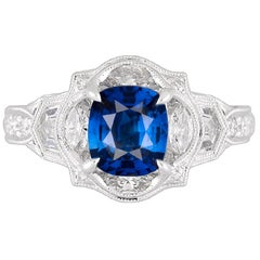 GIA Certified 1.56 Carat Ceylon Sapphire and Diamond Ring in 18 Karat White Gold