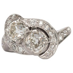GIA Certified 1.56 Carat Total Weight Platinum Engagement Ring