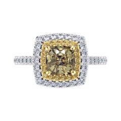 GIA Certified 1.56 Carat Yellow Diamond 18 Karat White Gold Tresor Ring