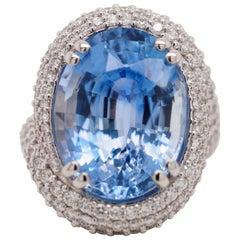 GIA Certified 15.67 Carat Ceylon Sapphire Diamond Custom Cocktail Ring
