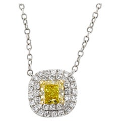 GIA Certified 1.21 Carat Fancy Cushion Diamond Pendant Necklace 14 Karat Gold