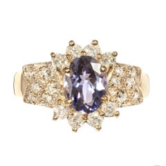 GIA Certified 1.57 Carat Oval Tanzanite Diamond Gold Engagement Ring
