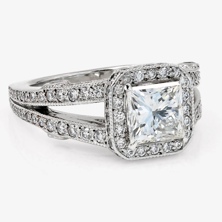 Contemporary GIA Certified 1.57 Carat Princess Cut Diamond Engagement Ring For Sale