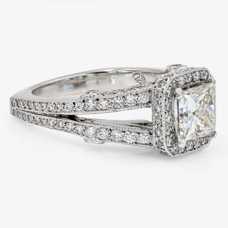 GIA Certified 1.57 Carat Princess Cut Diamond Engagement Ring In New Condition For Sale In Chicago, IL