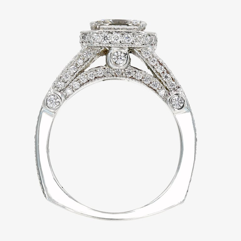 GIA Certified 1.57 Carat Princess Cut Diamond Engagement Ring For Sale 1