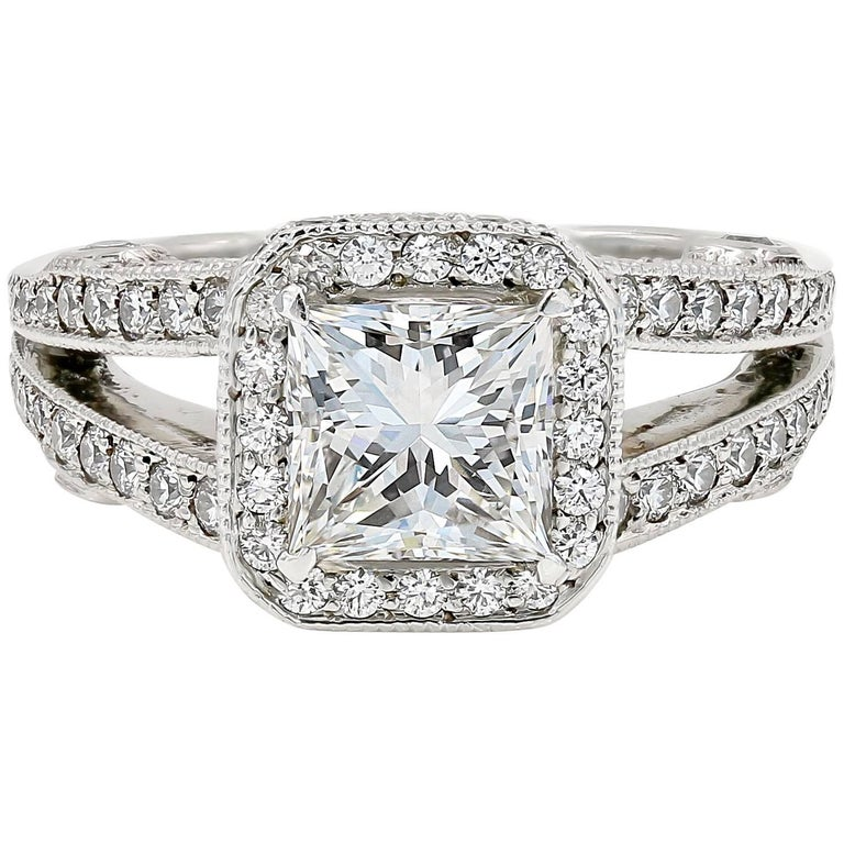 GIA Certified 1.57 Carat Princess Cut Diamond Engagement Ring For Sale