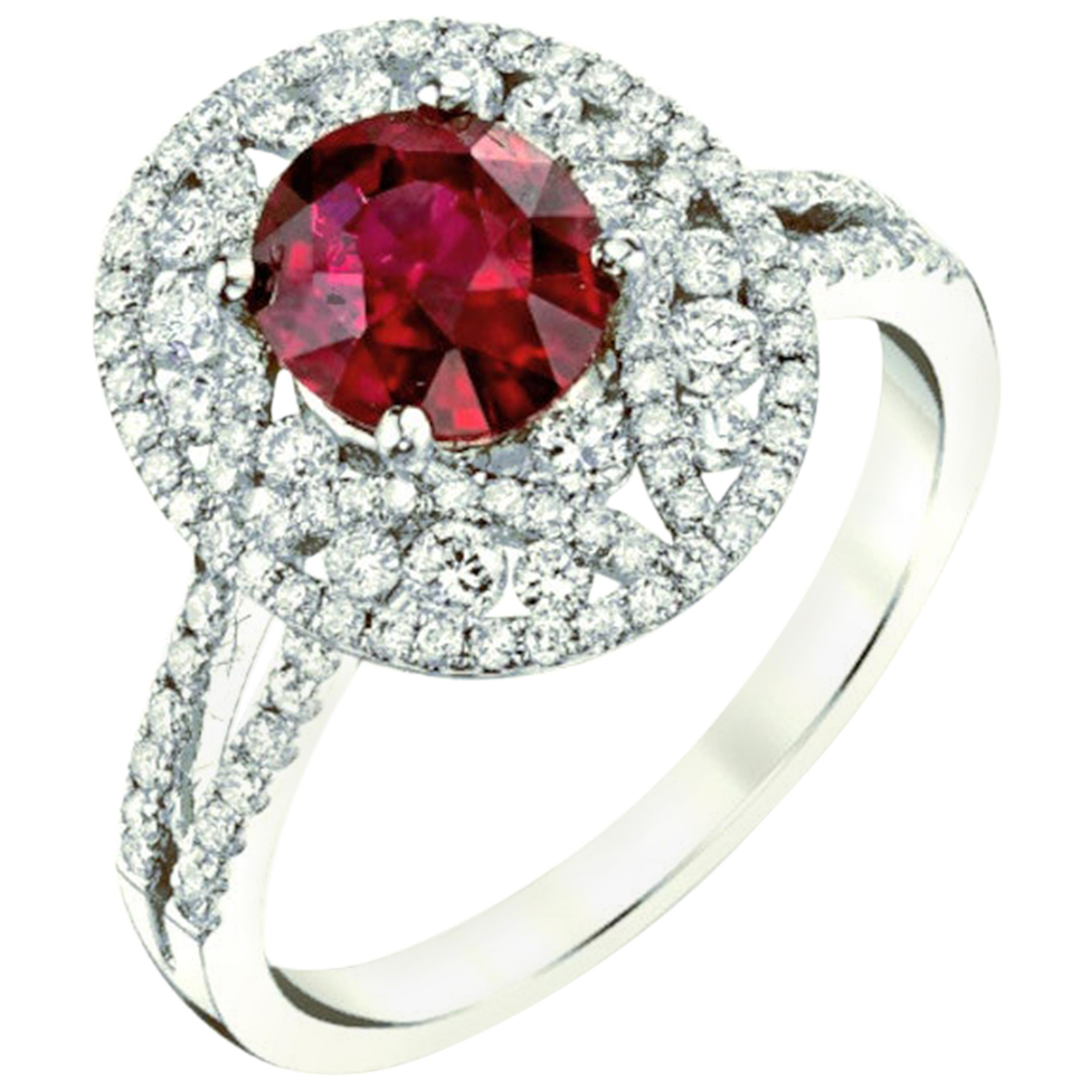 Edwardian Inspired 1.57 Carat GIA Ruby and Diamond Halo White Gold Cocktail Ring