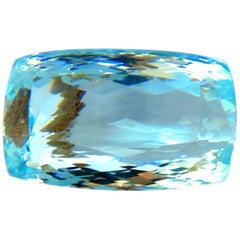 GIA Certified 157.55 Carat Natural Aqua Blue Cushion Cut Aquamarine Magnificent
