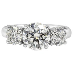 GIA Certified 1.58 Carat Round Diamond Three-Stone Engagement Ring