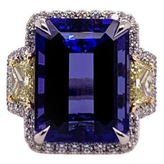 GIA Certified 15.88 Carat Natural Diamond & Tanzanite Gem Platinum Cocktail Ring