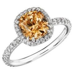 GIA Certified 1.59 Carat Natural Fancy Deep Brown-Yellow 'Cognac' Diamond Ring