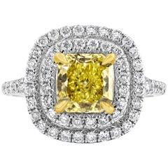 GIA Certified 1.59 Carat Radiant Cut Yellow Diamond Halo Engagement Ring